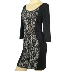 AA STUDIO AA Black and Off-White Lace Dress Sz 6P